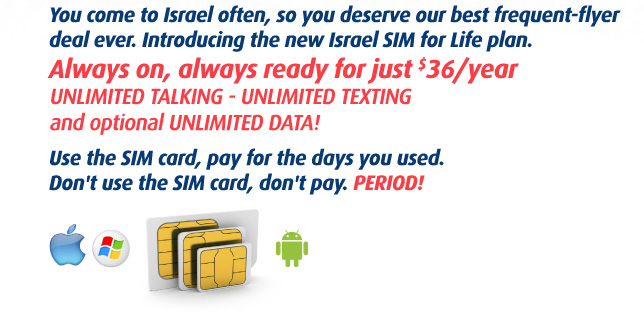 Permanent SIM card in Israel with unlimited calls and unlimited data